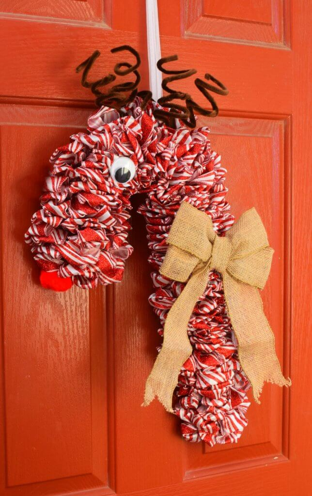 FInished Candy Cane Reindeer Wreath