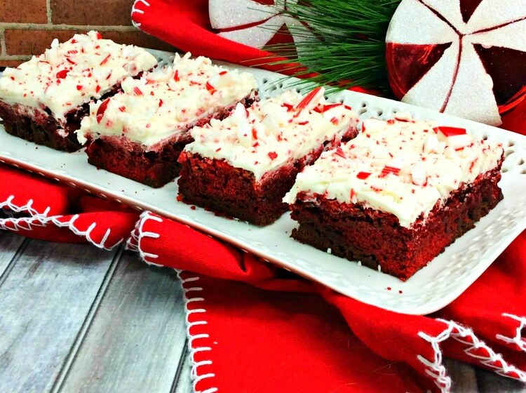 Peppermint Swirl Red Velvet Brownies - a perfect holiday treat