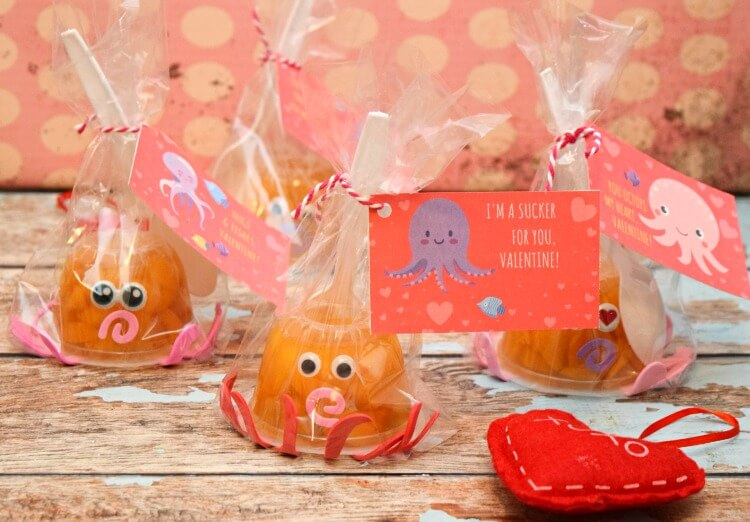 Finished Octopus Fruit Cup Valentines