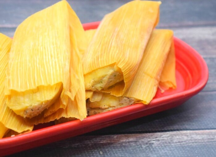 Chicken Tomatillo Tamales that were rock solid frozen and cooked in 15 minutes in the Insta-Pot!