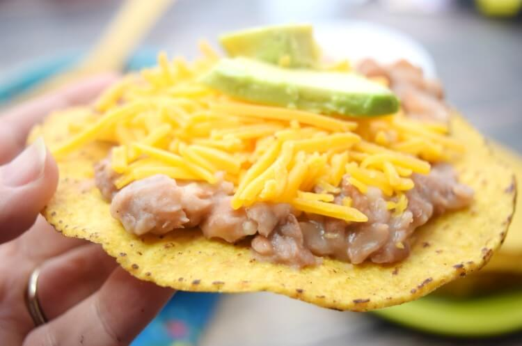 Tostadas with Instant Pot Healthier Refried Beans