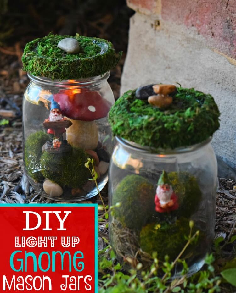 Make these DIY Light Up Gnome Mason Jars as a fun nightlight for the children's bedrooms.