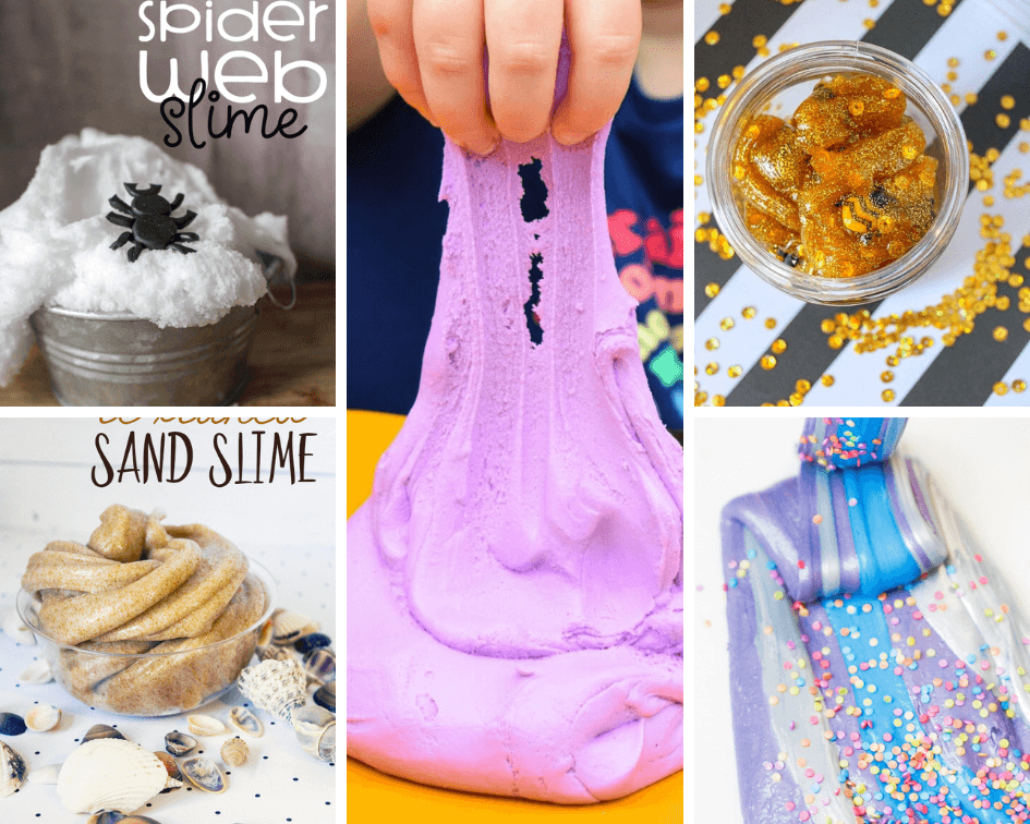 Slime Recipe collage with edible frosting slime, spider web slime, sand slime, honeys lime, and metallic sprinkle slime