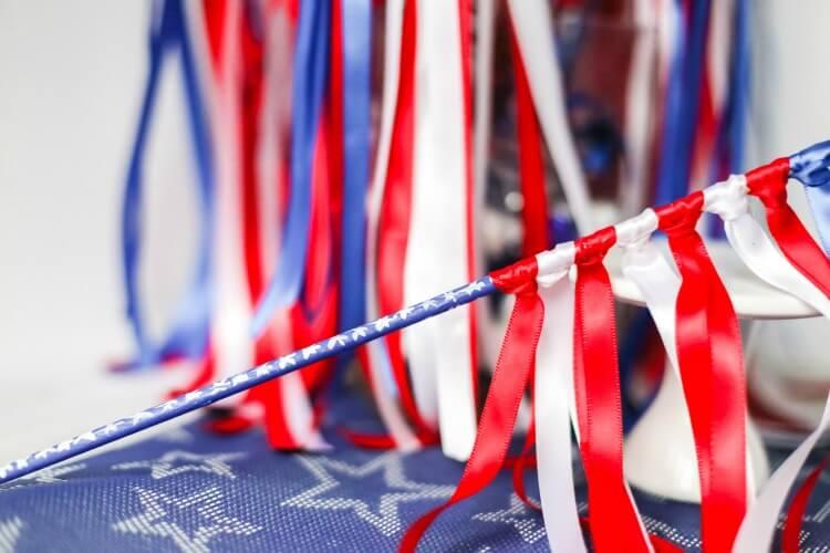 An individual DIY patriotic flag waving wand.