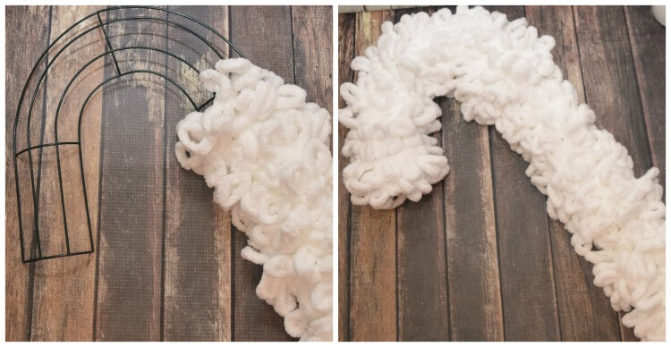 Wrap the candy cane wreath frame in loopy yarn to create the unicorn.