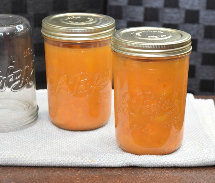 2 quarts of apricot pie filling from 24 fresh apricots.