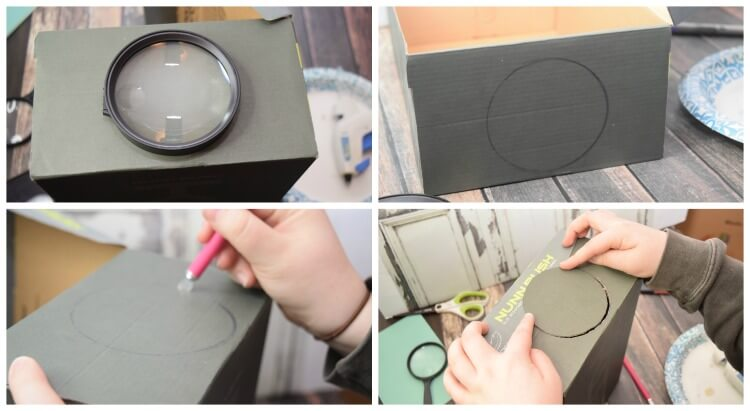 Use the magnifying glass to trace a circle on the shoe box to cut out.