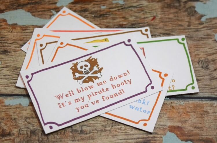 Print and cut out the pirate treasure hunt clues.