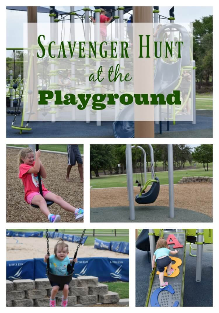 Outdoor scavenger hunt at the playground is fun for the kids.