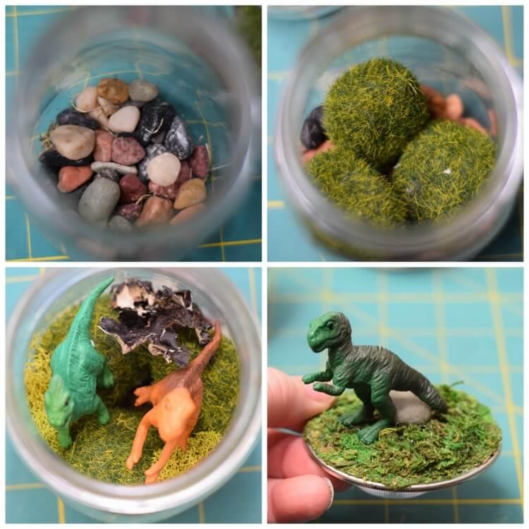How to layer the DIY Dinosaur Terrarium Nightlight in a Mason Jar