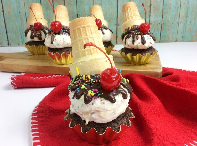 A view of multiple Upside Down Ice Cream Cone Cupcakes