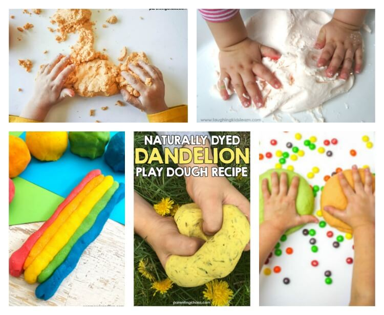 So many playdough recipes from playdough with Skittles to fairy playdough.