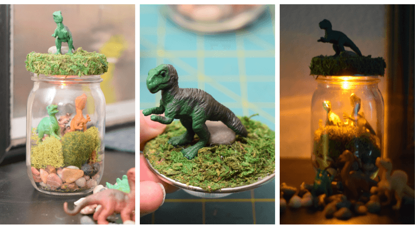 Diy Dinosaur Terrarium Night Light Mason Jar The Tiptoe
