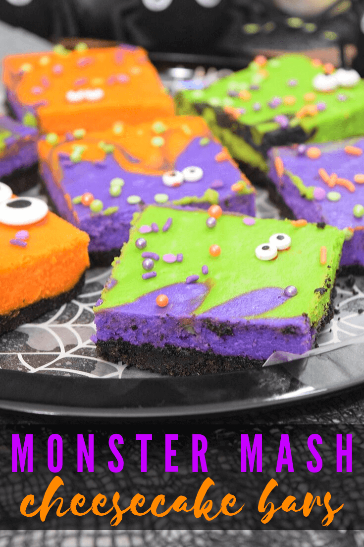 Monster Mash Halloween Cheesecake Bars
